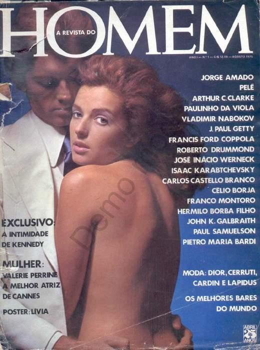 Capa da playboy de agosto  de 1975 com a Livia Mund e Valerie Perrine