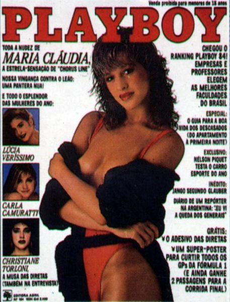 Capa da playboy de janeiro  de 1984 com a Claudia Raia como Maria Claudia
