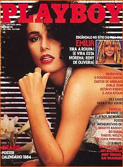 Capa da playboy de março  de 1984 com a Reny de Oliveira Emilia