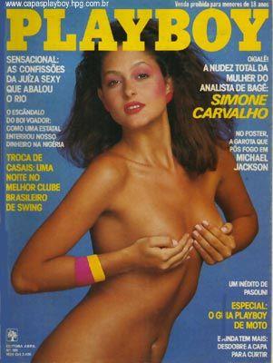Capa da playboy de abril  de 1984 com a Simone Carvalho