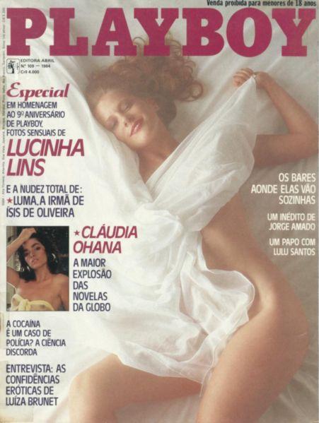 Capa da playboy de agosto  de 1984 com a Lucinha Lins