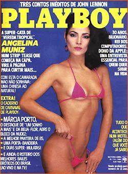 Capa da playboy de janeiro  de 1985 com a Angelina Muniz