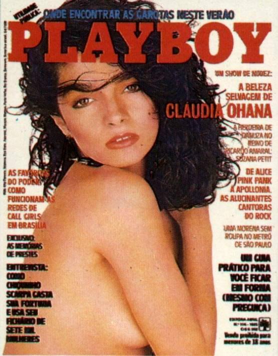 Capa da playboy de fevereiro  de 1985 com a Claudia Ohana