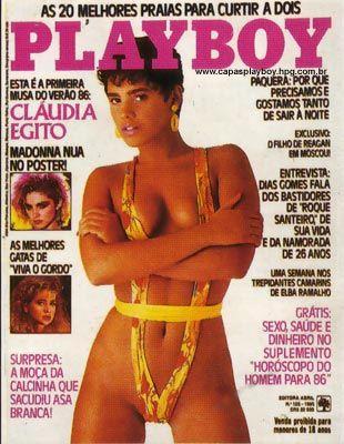 Capa da playboy de dezembro  de 1985 com a Claudia Egito