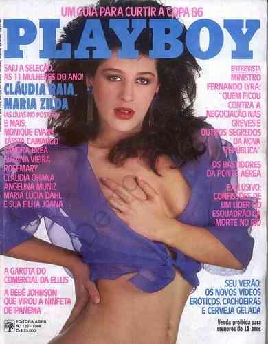 Capa da playboy de janeiro  de 1986 com a Claudia Raia