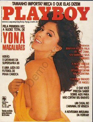 Capa da playboy de fevereiro  de 1986 com a Yona Magalhaes