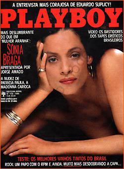 Capa da playboy de julho  de 1986 com a Sonia Braga