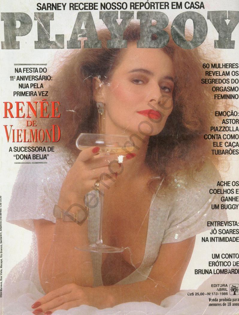 Capa da playboy de agosto  de 1986 com a Renee de Vielmond