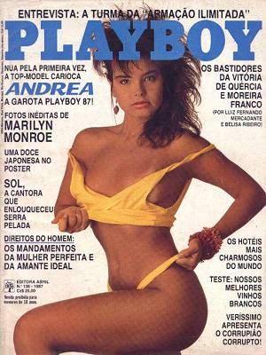 Capa da playboy de janeiro  de 1987 com a Andrea