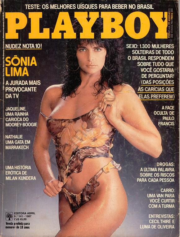Capa da playboy de abril  de 1987 com a Sonia Lima