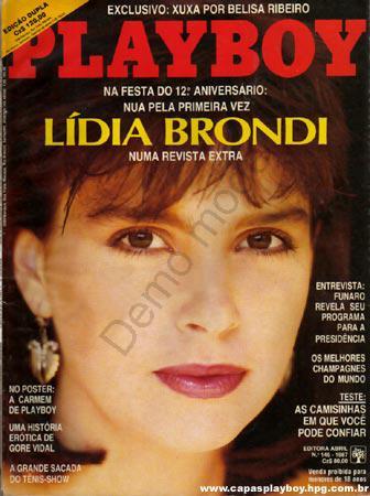 Capa da playboy de agosto  de 1987 com a Lidia Brondi
