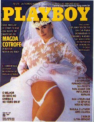 Capa da playboy de outubro  de 1987 com a Magda Cotrofe