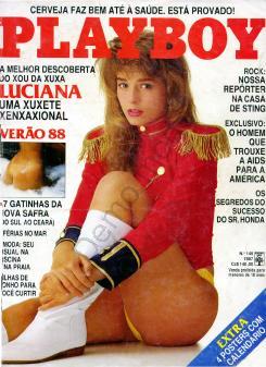 Capa da playboy de dezembro  de 1987 com a Luciana Vendramini