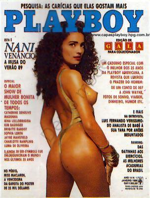 Capa da playboy de janeiro  de 1989 com a Nani Venancio