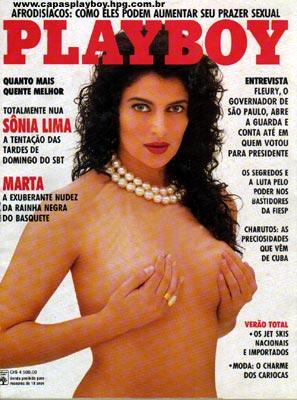 Capa da playboy de dezembro  de 1991 com a Sonia Lima