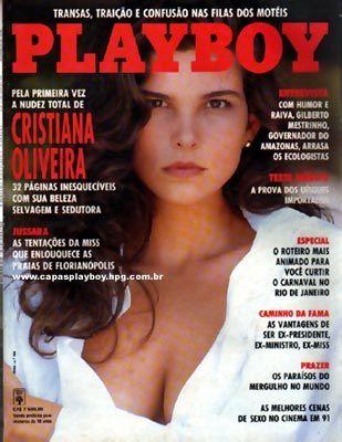 Capa da playboy de fevereiro  de 1992 com a Cristiana Oliveira