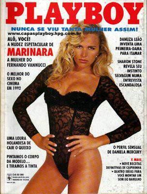 Capa da playboy de dezembro  de 1992 com a Marinara Costa