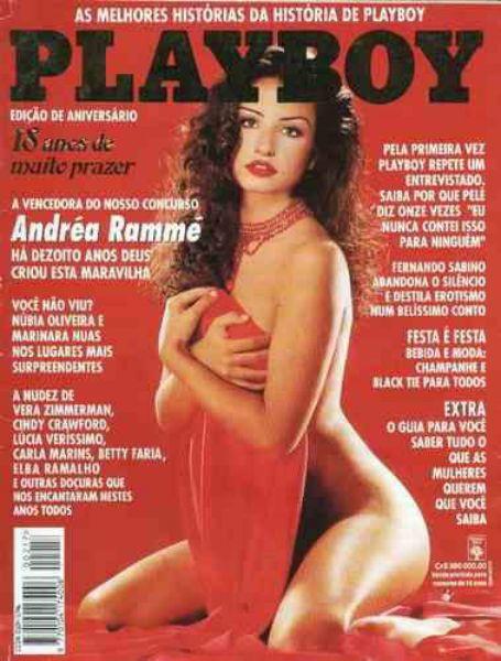 Capa da playboy de agosto  de 1993 com a Andrea Ramme