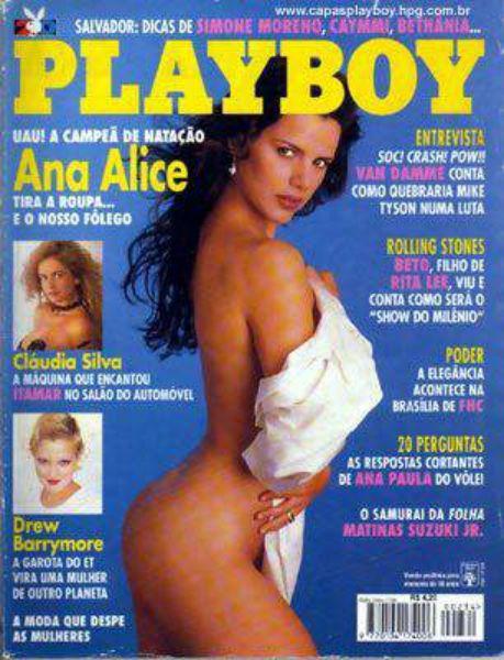 Capa da playboy de janeiro  de 1995 com a Ana Alice