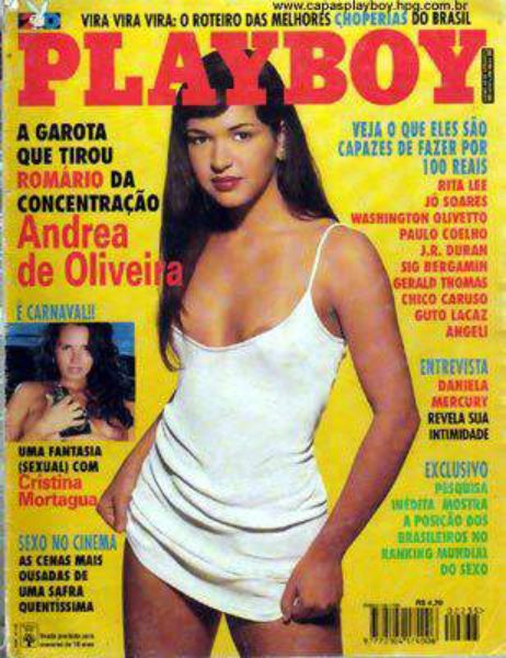 Capa da playboy de fevereiro  de 1995 com a Andrea de Oliveira