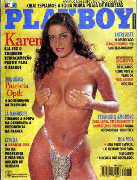 Capa da playboy de abril  de 1995 com a Karen