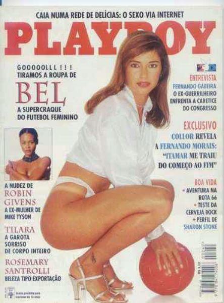 Capa da playboy de julho  de 1995 com a Bel