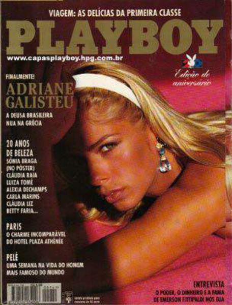 Capa da playboy de agosto  de 1995 com a Adriane Galisteu