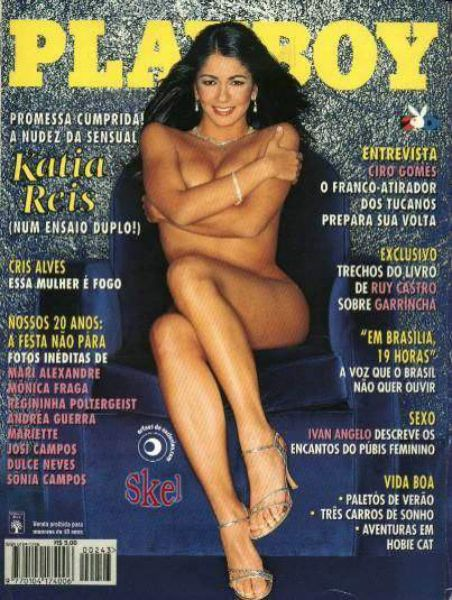 Capa da playboy de outubro  de 1995 com a Katia Reis