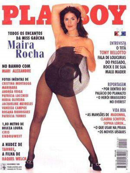 Capa da playboy de novembro  de 1995 com a Maira Rocha
