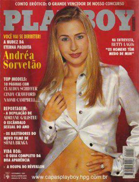 Capa da playboy de dezembro  de 1995 com a Andrea Sorvetao