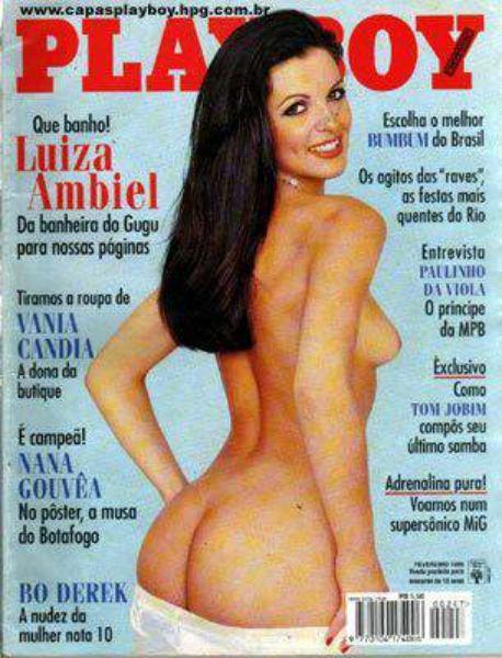 Capa da playboy de janeiro  de 1996 com a Luiza Ambiel
