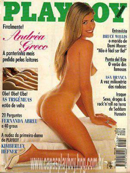 Capa da playboy de março  de 1996 com a Andrea Greco