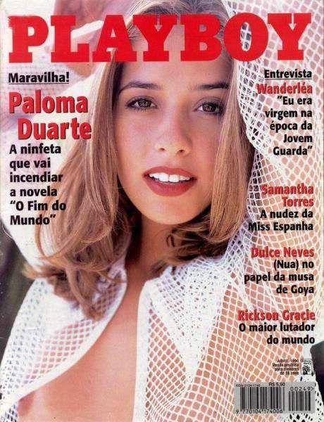 Capa da playboy de abril  de 1996 com a Paloma Duarte