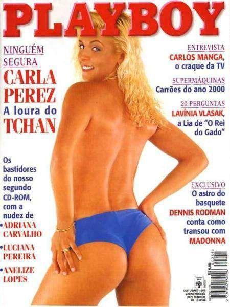 Capa da playboy de outubro  de 1996 com a Carla Perez