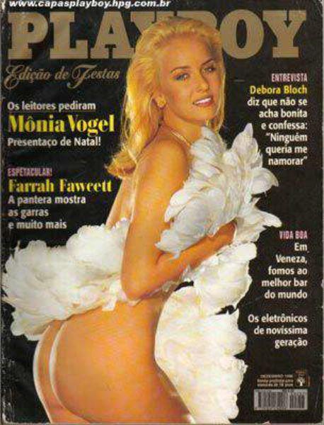 Capa da playboy de dezembro  de 1996 com a Monia Vogel