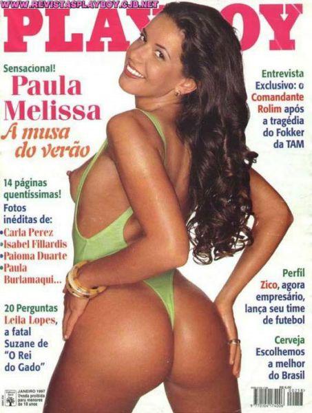 Capa da playboy de janeiro  de 1997 com a Paula Melissa
