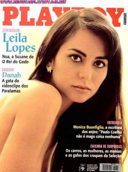 Capa da playboy de março  de 1997 com a Leila Lopes