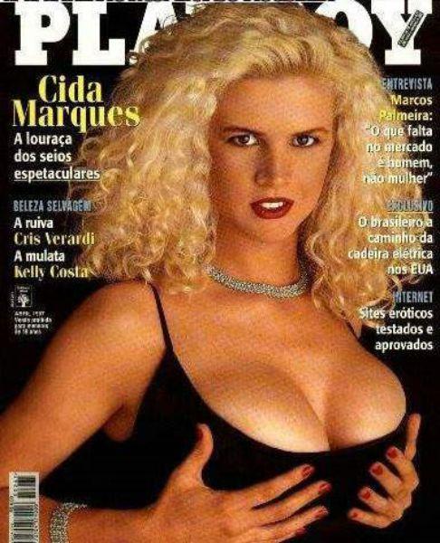 Capa da playboy de abril  de 1997 com a Cida Marques