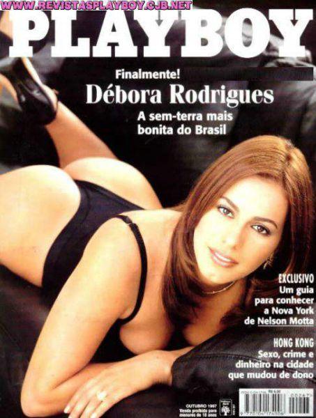 Capa da playboy de outubro  de 1997 com a Debora Rodrigues