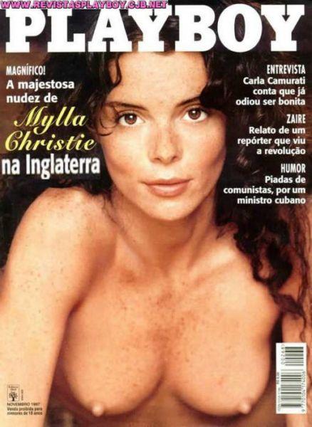 Capa da playboy de novembro  de 1997 com a Mylla Christie