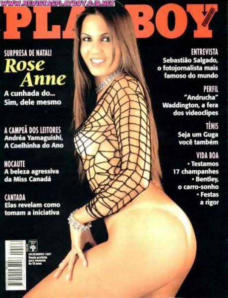 Capa da playboy de dezembro  de 1997 com a Rose Anne