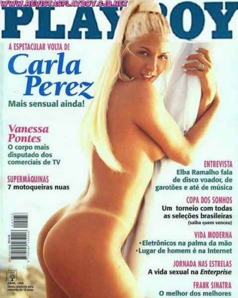 Capa da playboy de abril  de 1998 com a Carla Perez