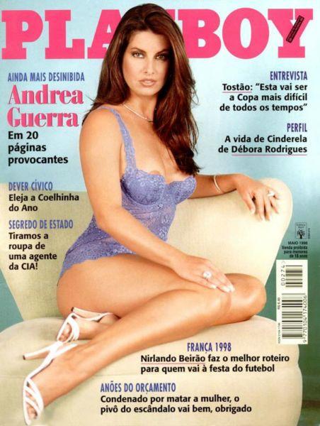 Capa da playboy de maio  de 1998 com a Andrea Guerra
