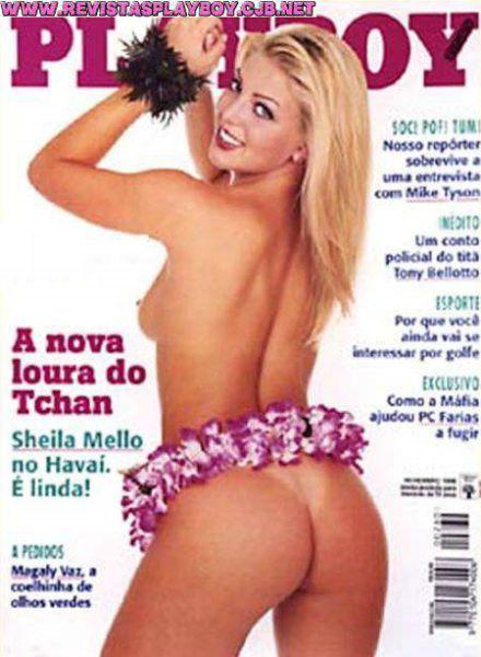 Capa da playboy de novembro  de 1998 com a Sheila Mello
