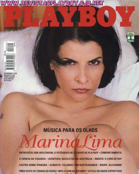 Capa da playboy de novembro  de 1999 com a Marina Lima