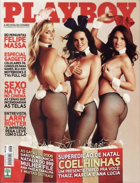 Capa da playboy de dezembro  de 2008 com a Ana Lucia Fernandes, Marcia Spezia e Thaiz Schimitt Coelhinhas da Playboy