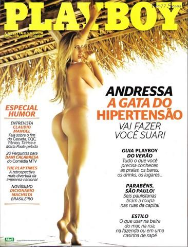 Capa da playboy de janeiro  de 2011 com a Andressa Ribeiro
