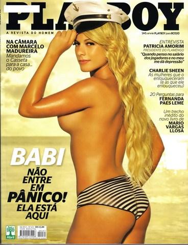 Capa da playboy de abril  de 2011 com a Babi Rossi