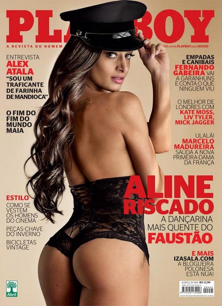 Capa da playboy de junho  de 2012 com a Aline Riscado