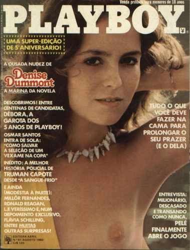 Capa da playboy de agosto  de 1980 com a Denise Dumont